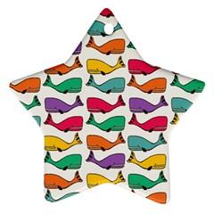 Small Rainbow Whales Ornament (Star)