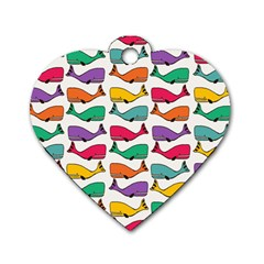 Small Rainbow Whales Dog Tag Heart (two Sides) by Simbadda