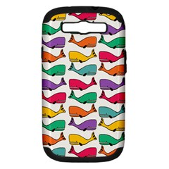 Small Rainbow Whales Samsung Galaxy S Iii Hardshell Case (pc+silicone) by Simbadda