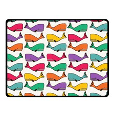 Small Rainbow Whales Double Sided Fleece Blanket (small)  by Simbadda