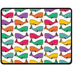 Small Rainbow Whales Double Sided Fleece Blanket (medium)  by Simbadda
