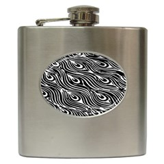 Digitally Created Peacock Feather Pattern In Black And White Hip Flask (6 Oz) by Simbadda