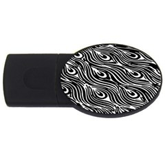 Digitally Created Peacock Feather Pattern In Black And White Usb Flash Drive Oval (2 Gb) by Simbadda