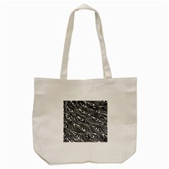 Digitally Created Peacock Feather Pattern In Black And White Tote Bag (cream) by Simbadda