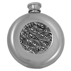 Digitally Created Peacock Feather Pattern In Black And White Round Hip Flask (5 Oz) by Simbadda