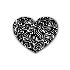 Digitally Created Peacock Feather Pattern In Black And White Rubber Coaster (heart)  by Simbadda