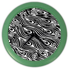 Digitally Created Peacock Feather Pattern In Black And White Color Wall Clocks by Simbadda