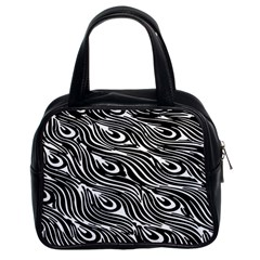 Digitally Created Peacock Feather Pattern In Black And White Classic Handbags (2 Sides) by Simbadda