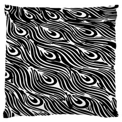 Digitally Created Peacock Feather Pattern In Black And White Large Cushion Case (two Sides) by Simbadda