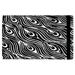 Digitally Created Peacock Feather Pattern In Black And White Apple Ipad 3/4 Flip Case by Simbadda