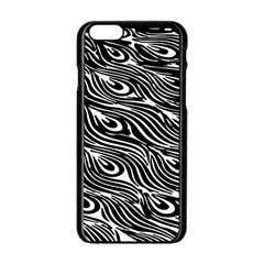 Digitally Created Peacock Feather Pattern In Black And White Apple Iphone 6/6s Black Enamel Case by Simbadda