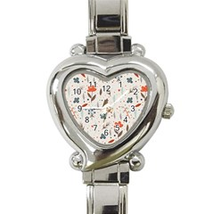 Seamless Floral Patterns  Heart Italian Charm Watch by TastefulDesigns