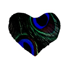 Peacock Feather Standard 16  Premium Heart Shape Cushions by Simbadda