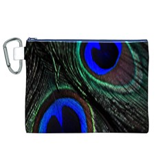 Peacock Feather Canvas Cosmetic Bag (xl) by Simbadda