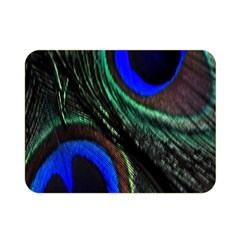 Peacock Feather Double Sided Flano Blanket (mini)  by Simbadda