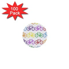 Rainbow Colors Bright Colorful Bicycles Wallpaper Background 1  Mini Buttons (100 Pack)  by Simbadda