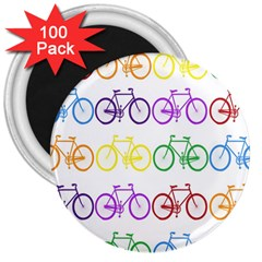Rainbow Colors Bright Colorful Bicycles Wallpaper Background 3  Magnets (100 Pack) by Simbadda