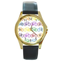Rainbow Colors Bright Colorful Bicycles Wallpaper Background Round Gold Metal Watch by Simbadda