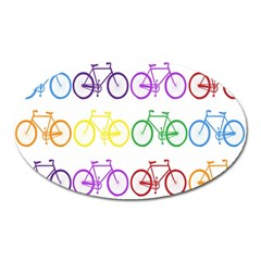 Rainbow Colors Bright Colorful Bicycles Wallpaper Background Oval Magnet by Simbadda