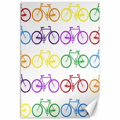 Rainbow Colors Bright Colorful Bicycles Wallpaper Background Canvas 12  X 18   by Simbadda