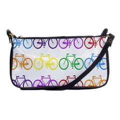 Rainbow Colors Bright Colorful Bicycles Wallpaper Background Shoulder Clutch Bags by Simbadda