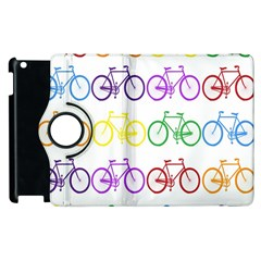 Rainbow Colors Bright Colorful Bicycles Wallpaper Background Apple Ipad 3/4 Flip 360 Case by Simbadda