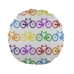 Rainbow Colors Bright Colorful Bicycles Wallpaper Background Standard 15  Premium Round Cushions by Simbadda