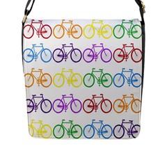 Rainbow Colors Bright Colorful Bicycles Wallpaper Background Flap Messenger Bag (l)  by Simbadda