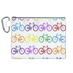 Rainbow Colors Bright Colorful Bicycles Wallpaper Background Canvas Cosmetic Bag (xl) by Simbadda