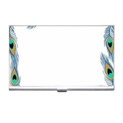 Beautiful Frame Made Up Of Blue Peacock Feathers Business Card Holders by Simbadda