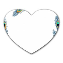 Beautiful Frame Made Up Of Blue Peacock Feathers Heart Mousepads by Simbadda