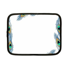 Beautiful Frame Made Up Of Blue Peacock Feathers Netbook Case (small)  by Simbadda