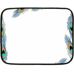 Beautiful Frame Made Up Of Blue Peacock Feathers Double Sided Fleece Blanket (mini)  by Simbadda