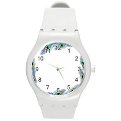 Beautiful Frame Made Up Of Blue Peacock Feathers Round Plastic Sport Watch (m) by Simbadda
