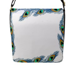 Beautiful Frame Made Up Of Blue Peacock Feathers Flap Messenger Bag (l)  by Simbadda
