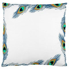 Beautiful Frame Made Up Of Blue Peacock Feathers Standard Flano Cushion Case (one Side) by Simbadda
