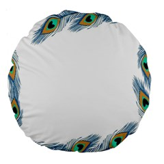 Beautiful Frame Made Up Of Blue Peacock Feathers Large 18  Premium Flano Round Cushions by Simbadda