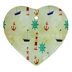 Vintage Seamless Nautical Wallpaper Pattern Ornament (heart) by Simbadda