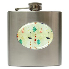 Vintage Seamless Nautical Wallpaper Pattern Hip Flask (6 Oz) by Simbadda