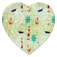 Vintage Seamless Nautical Wallpaper Pattern Jigsaw Puzzle (Heart) by Simbadda