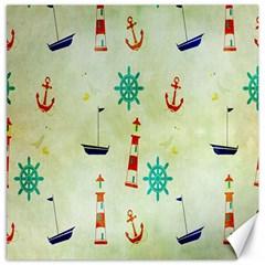 Vintage Seamless Nautical Wallpaper Pattern Canvas 12  X 12   by Simbadda