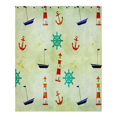 Vintage Seamless Nautical Wallpaper Pattern Shower Curtain 60  X 72  (medium)  by Simbadda