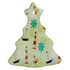 Vintage Seamless Nautical Wallpaper Pattern Christmas Tree Ornament (two Sides) by Simbadda
