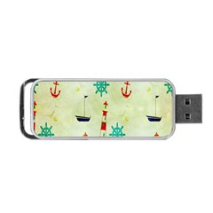 Vintage Seamless Nautical Wallpaper Pattern Portable Usb Flash (one Side) by Simbadda