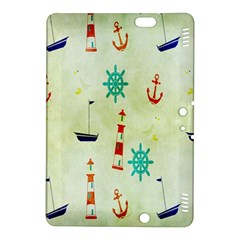 Vintage Seamless Nautical Wallpaper Pattern Kindle Fire Hdx 8 9  Hardshell Case by Simbadda