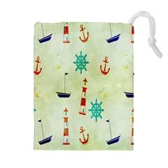 Vintage Seamless Nautical Wallpaper Pattern Drawstring Pouches (extra Large) by Simbadda