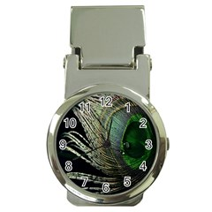 Feather Peacock Drops Green Money Clip Watches by Simbadda