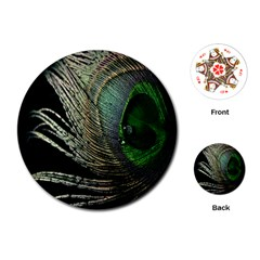 Feather Peacock Drops Green Playing Cards (round)  by Simbadda