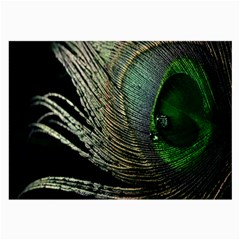 Feather Peacock Drops Green Large Glasses Cloth (2 Side) by Simbadda