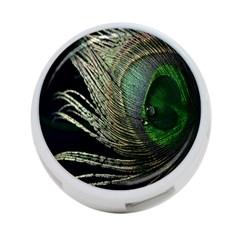 Feather Peacock Drops Green 4 Port Usb Hub (two Sides)  by Simbadda